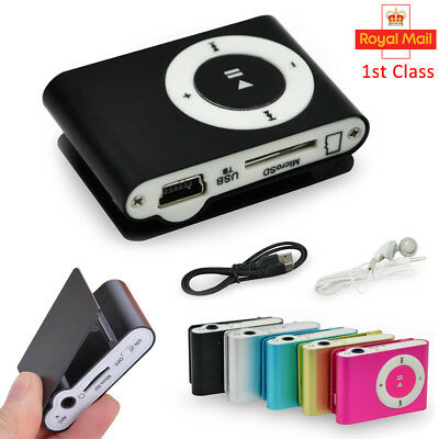 Mini Practical USB Clip MP3 Player 16GB Micro LCD  Music Media UK
