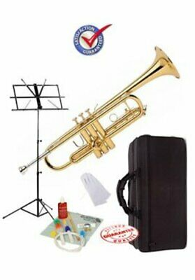 Student Gold Bb Trumpet School Package with Case, Music Stand and Cleaning Kit.