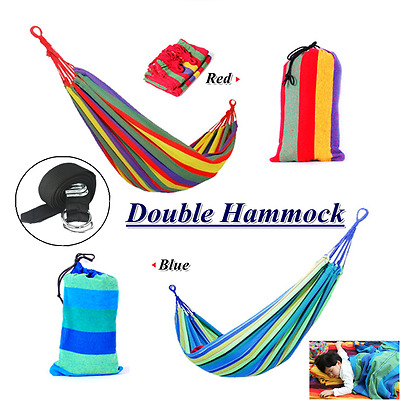 Huge Double Cotton Fabric Hammock Air Chair Hanging Swinging Camping Foldable AU