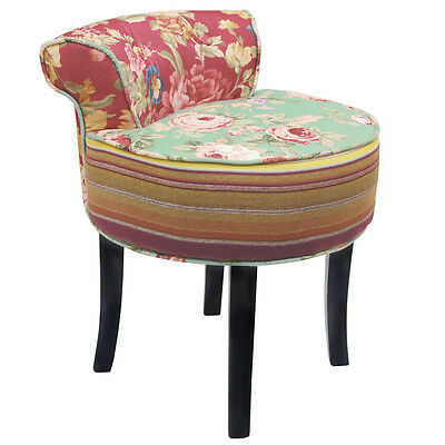 ROSES - Shabby Chic Stool / Low Back Chair with Wood Legs Multi-coloured OCH6010