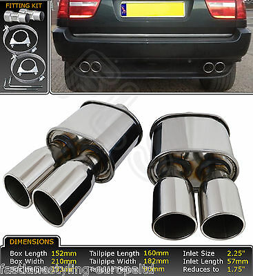 Pair Of Stainless Steel Performance Exhaust Backboxes For Bmw X5 (E53)