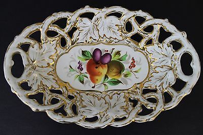 Antique C. T. Germany Reticulated Porcelain Gold Gilt Fruit Decor Basket Bowl