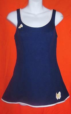 VINTAGE 50s 60s navy BATHING SWIM SUIT pin up ONE PIECE butterfly CATALINA mod