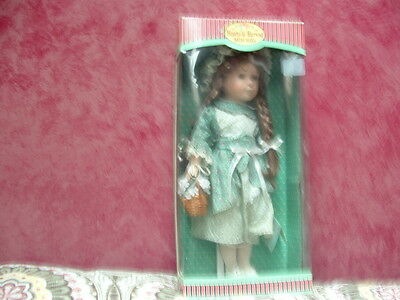 COLLECTIBLE PORCELAIN DOLL(Hearts & Harvest Memories)w/Stand. NEW(In Box)>>LQQK>