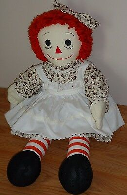 Raggedy Ann Rag Doll w/Rare Unique Brown & White floral Dress