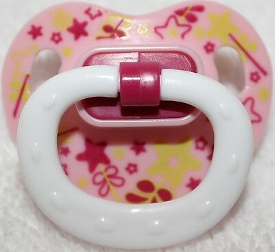 Reborn OOAK Baby Doll Girls Pink & Yellow Stars Modified Putty Pacifier