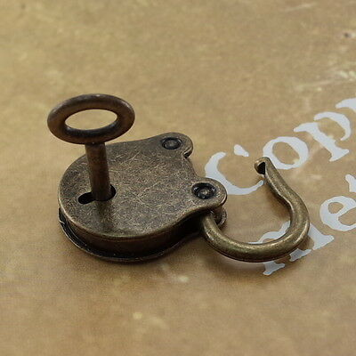 Old Vintage Antique Style Small  Padlock With Keys--Antique Brass Color
