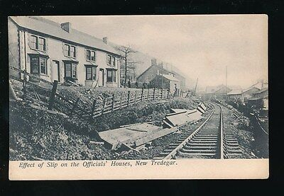 Wales Monmouthshire NEW TREDEGAR Land Slip Officials' House railway c1910 PPC