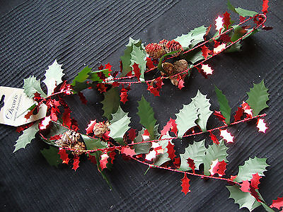 Tinsel Holly Christmas Garland Decoration with Pine Cones Red Glitter 150cm