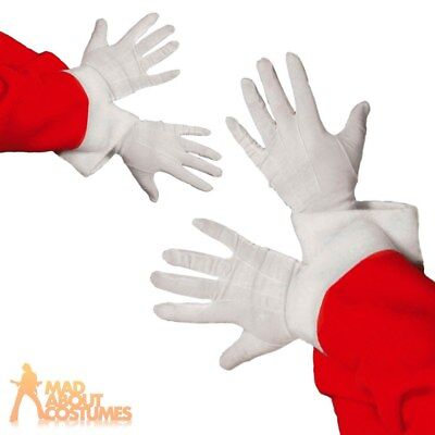 Santa Gloves White Fabric Mens Father Christmas Fancy Dress Outfit Accessory