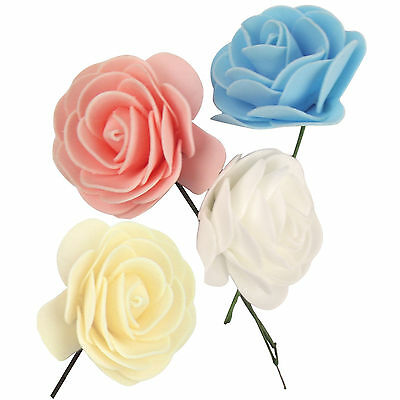 200x Foam Roses in White, Pink, Blue and Cream!  Artificial Wedding Flowers