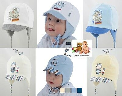 WINTER Cotton baby boy hat TIE UP - NEW - size from newborn 0 - 12 months! BOYS