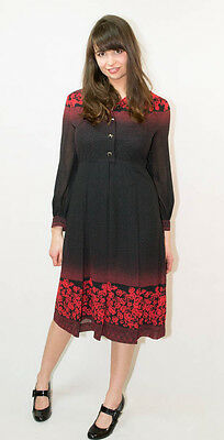 Vintage 70's 80's Black Red Floral Long Sleeved Dress Spotted Button up