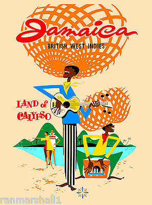Jamaica Caribbean Islands Jamaican Vintage Travel Advertisement Art Poster