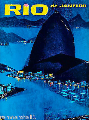 Rio Brazil Sugar Loaf Mountain South America Travel Advertisement Art Poster