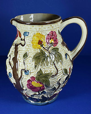 """Lush Vintage H J Wood Hand Painted Indian Tree 8.5"""" Water Jug - Country Kitchen"""