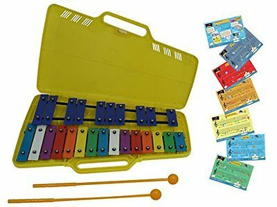 D'Luca 25 Notes Full Chromatic Xylophone Glockenspiel with Music Cards, TL25S