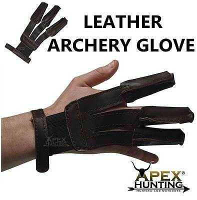 Brand New 3 Finger Traditional Archery Glove For Recurve And Long Bow Hunting
