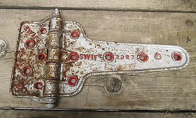 Large Industrial Barn Swift Silver Red Old Vintage Steel Hinge 15 1/2""