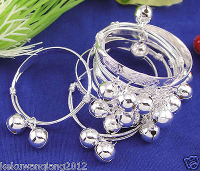 10pcs Silver Baby Infant Bracelet Bangle With Bells Wholesale