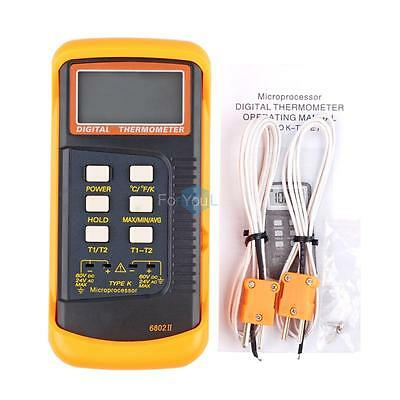 Digital LCD Dual Channel 2 K-Type Thermometer Thermocouple Sensor 1300°C/2372°F