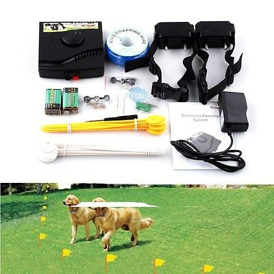 In-Ground Underground Waterproof 2 Shock Collar Electric Dog Pet Fence System