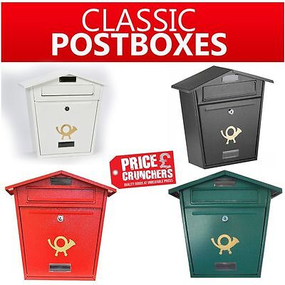 ARBORIA - Classic Mounted Lockable Post Mail Letter Box Steel-Vintage POST HORN