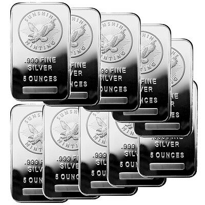 5 oz Sunshine Silver Bar (New, MintMark SI, Lot of 10)