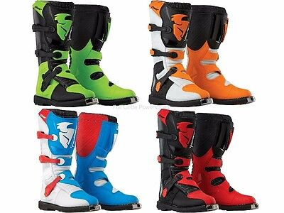 Thor Blitz MX Riding Boots Adult Sizes Motocross Dirt Bike Blue Red Green Orange