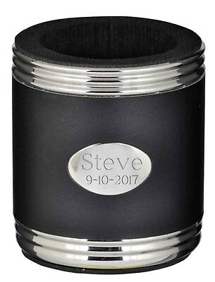 Personalized Visol Black Leather Stainless Steel Can Holder, New in Box