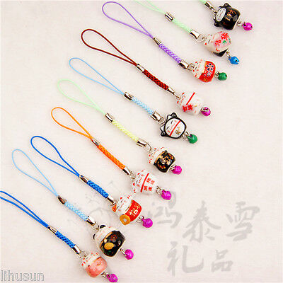 Wholesale20pcs Handmade Porcelain Cute Cat With Bell Phone/Key/Handbag Charm