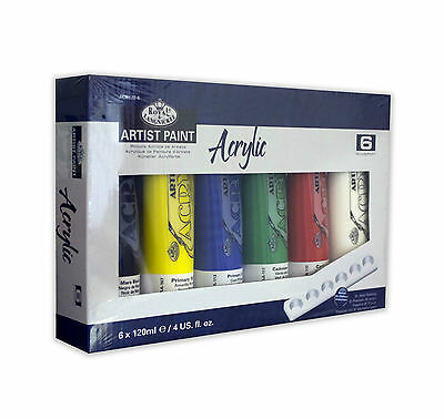Royal & Langnickel Acrylic Artist Paint Set of 6 x 120ml Colour Tubes + Palette