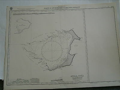 Vintage Admiralty Chart 3445 PLANS OF ANCHORAGES IN THE ILES LOYALTY 1904 edn