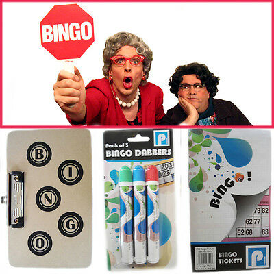 Bingo Dabbers Clip Board Set Marker Pens Colour Tip Felt Tickets Book Play Game