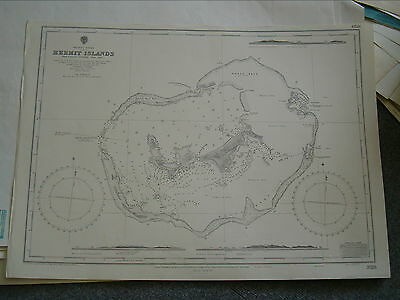 Vintage Admiralty Chart 3723 PACIFIC - HERMIT ISLANDS 1913 edn