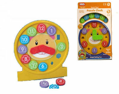 Fun Time Educational Puzzle Clock Shape Shorter Activity Learning Toy 18 Month+