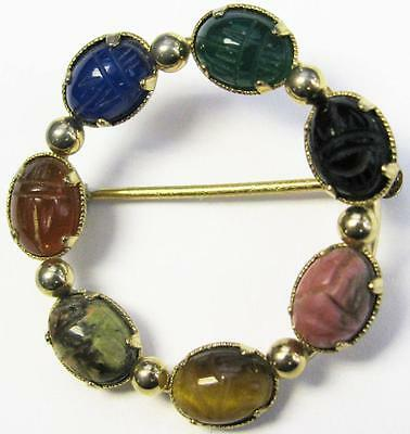 Antique 12K Gold with Seven Lucky Multicolored Scarab Stones Pin Brooch