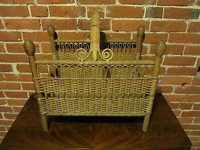 Rare Heywood Wakefield Antique Victorian Wicker Canterbury