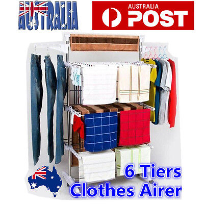 6 Tiers Clothes Drying Rack Indoor Clothes Airer Horse Laundry Hangers Stainless