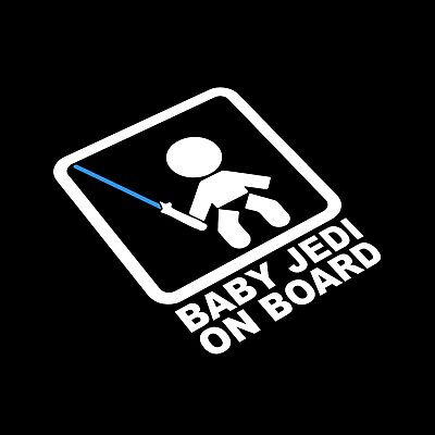 Baby Jedi On Board Car Van Window Decal Sticker Star Wars Skywalker Lightsaber