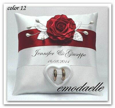 Personalized ! wedding ring cushion pillow with rings holder box  30 color""
