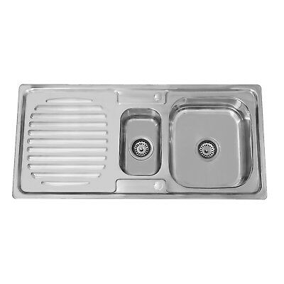 ENKI Stainless Steel 1.5 One Half Bowl Reversible Inset Kitchen Sink Drainer