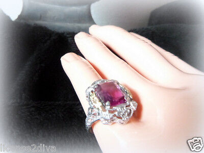 Art Deco Nouveau Vintage Sterling Silver Filigree Ring Pink Stone Gold Accent