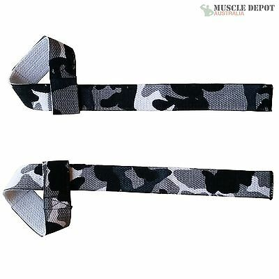 Camo Single Loop Weight Power Lifting Straps Gym Wrist Support Strength Training