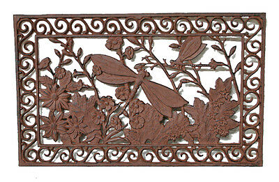 CAST IRON Doormat Rectangle DRAGONFLY Heavy Solid QUALITY 72cm x 45cm STUNNING!