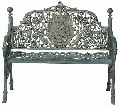 INCREDIBLE Outdoor Cast Iron Antique Deep Green or Black NOVEAU Bench Seat Chair