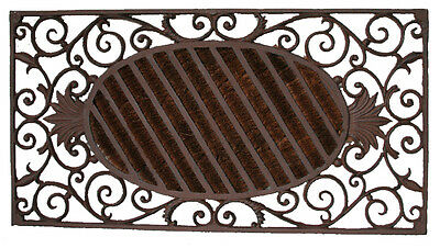 CAST IRON Doormat X Large Pineapple & Coir Solid QUALITY 87cm x 46cm STUNNING