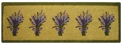 French Lavender Bouquet Mauve Green Fawn LONG Mat design 100% Coir Doormat / Mat