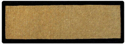 LONG French Black Border Natural Design Stunning 100% Coir Doormat / Door Mat