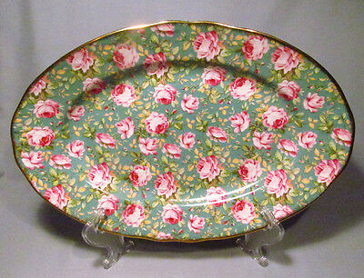 "English Chintz Porcelain Pink Roses on Green Background 13 1/2"" Serving Platter"